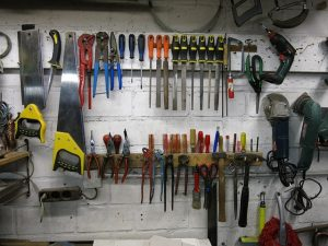 Tools hanging in workshop